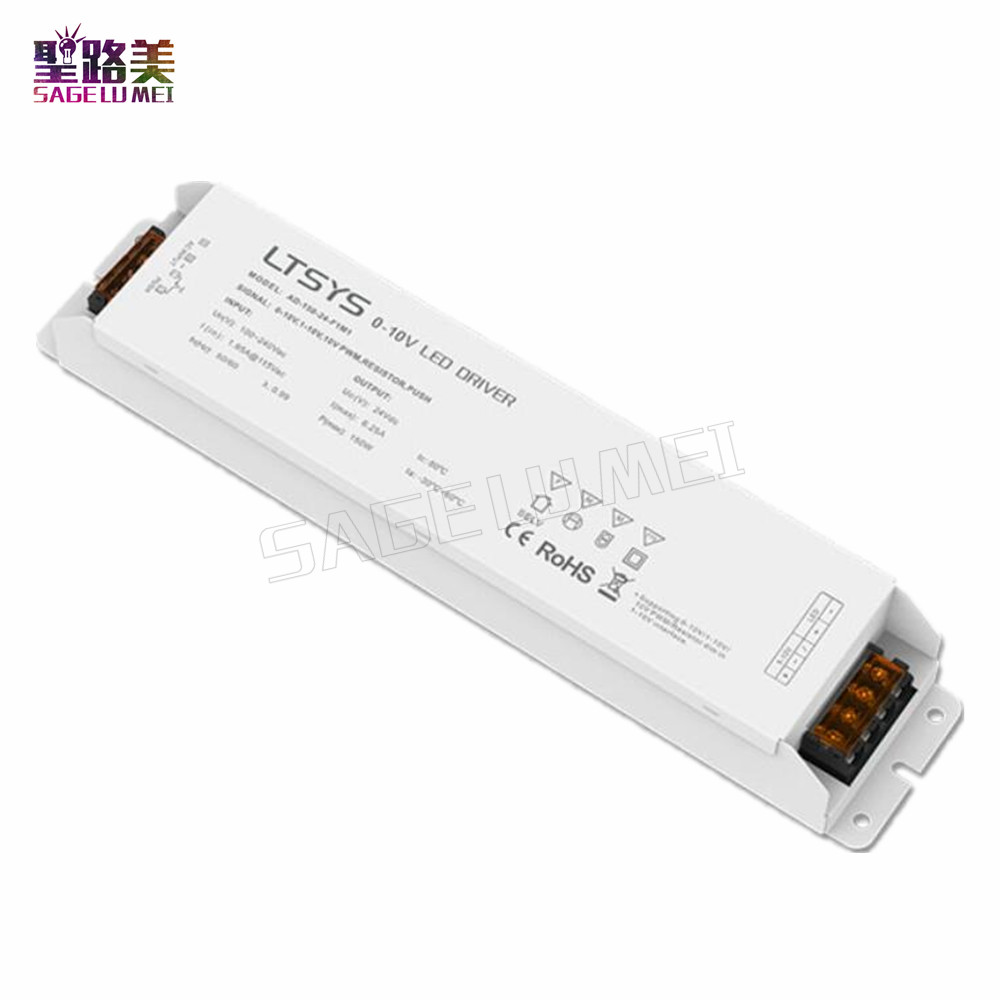 Free Shipping LTECH AD-150-24-F1M1  0/1-10V dimming driver AC100-240V input 24V 6.2A 150W output Constant Voltage Led Driver