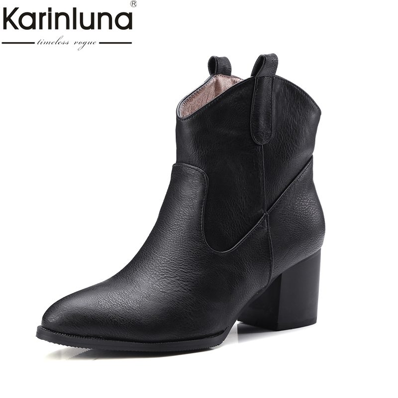 Karinluna 2018 Autumn winter Fashion Slip-On retro woman Ankle Boots square Heel Women Shoes Plus Size 32-47 western boots woman karinluna 2018 large size 32 43 slip on chelsea boots casual square heels add fur ankle boots rivets women shoes woman winter