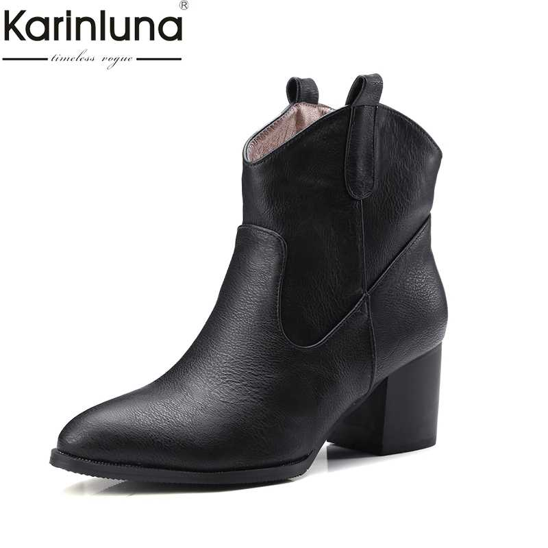 86379d680ed Karinluna 2018 г. осень зима мода скольжения на ретро женские ботильоны  квадратный каблук Женская