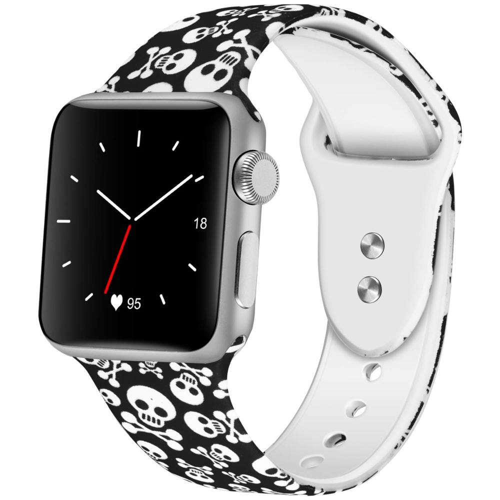 Apple Watch Band 42mm 44mm,Skull Soft Silicone Fadeless Pattern Printed Replacement Bands for iWatch Series 1,2,3,4 image
