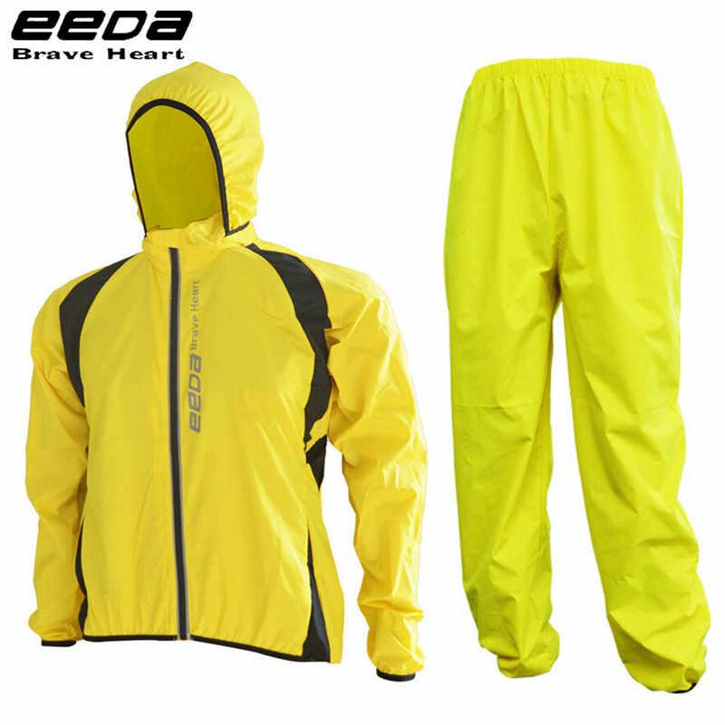EEDA Đẹp Trai Xe Đạp Áo Jacket Xe Đạp Quần Ngoài Trời Đi Xe Đạp Áo Mưa Jerseys Road MTB Không Ướt Mưa Đi Xe Đạp Áo Khoác Đặt Người Đàn Ông