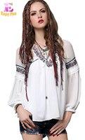 Chest 82 88cm S L Autumn 2016 Vintage White Chiffon Long Sleeve Women Blouse Shirt 2