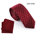 Tailor Smith Luxury Polka Dot Red Necktie Hanky Set Pure Silk Jacquard Red Tie Formal Wedding Dress Suit Cravat Pocket Square