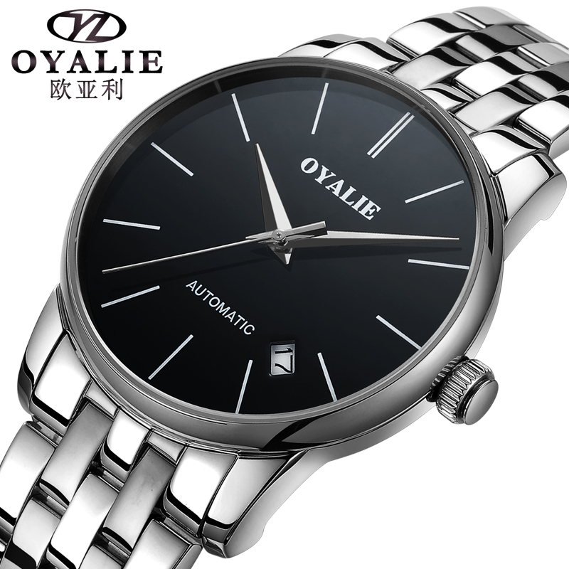 Genuine Mechanical Watch OYALIE Men Luxury Brand Roman Number Sapphire surface Stainless Steel Automatic Wristwatches Gift Box otoky montre pocket watch women vintage retro quartz watch men fashion chain necklace pendant fob watches reloj 20 gift 1pc