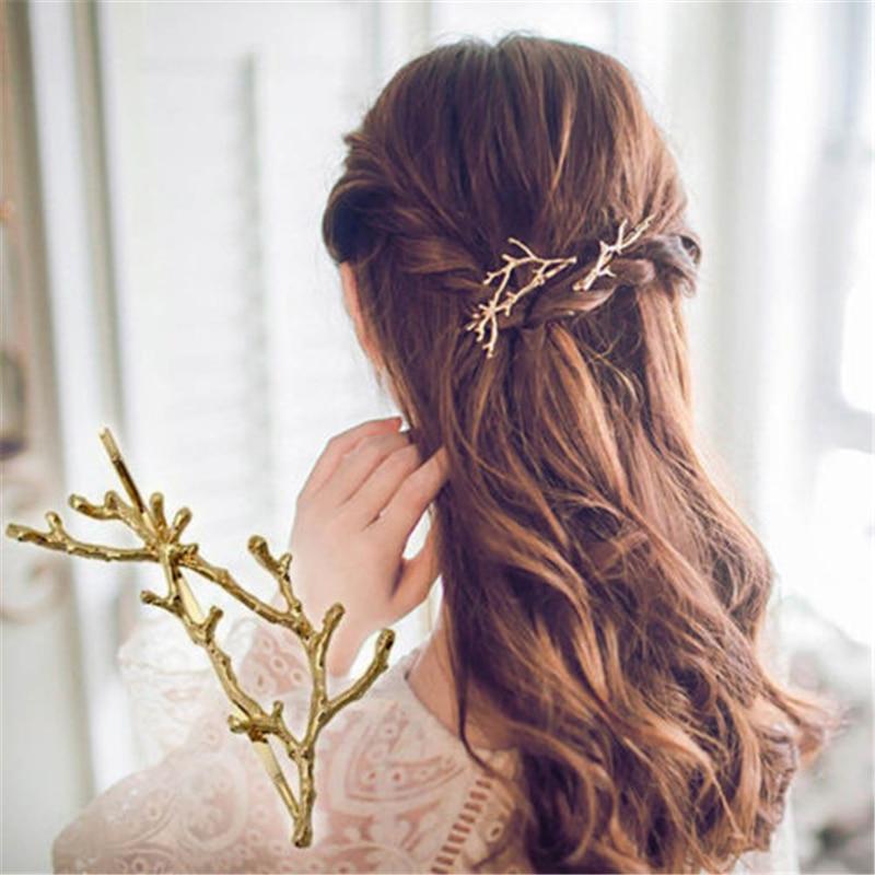 Gold Silver Tree Branch Design Hair Pins Headwear Bijoux De Tete Femme Cheveux Women Girls Hair Jewelry Accessory