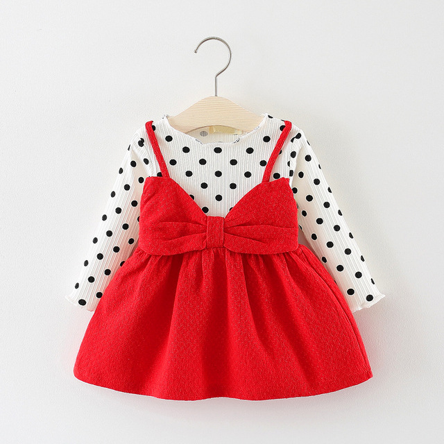 Cute Polka Dotted Cotton Dress with Bow