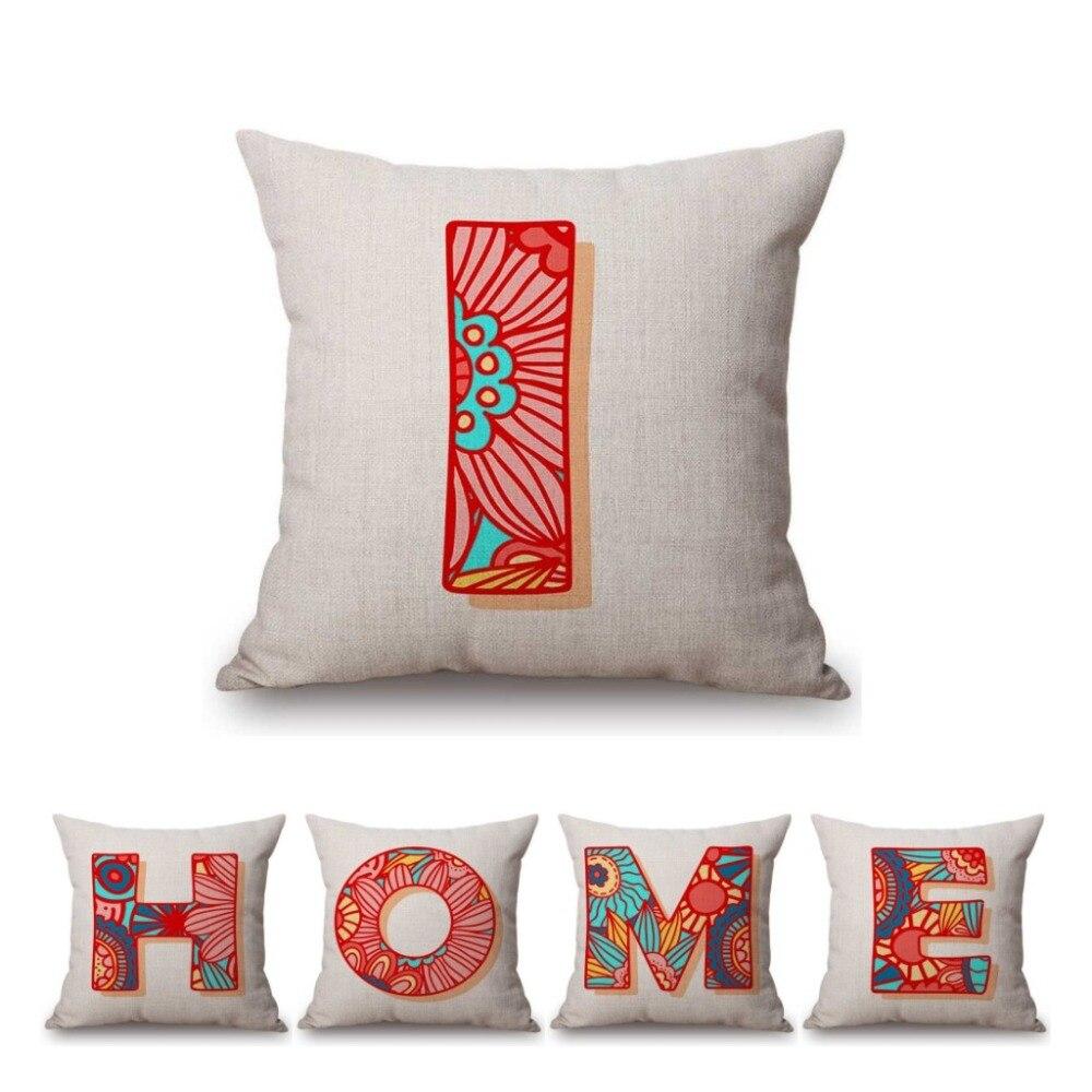 >26 Pink Floral Graffiti Monogram Initial Alphabet <font><b>Letters</b></font> ABC Home Decorative Sofa Throw Pillow Case <font><b>Nordic</b></font> <font><b>Letter</b></font> Cushion Cover