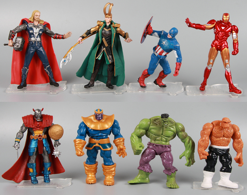 8pcs Set The Avengers Thor Loki Captain Ironman Hulk The Thing Thanos Figure in Simple package