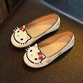 2017 Осень Мультфильм Cat Дети Обувь для Девочек Kitty Лица Малышей Девушки Балетки Малышей Повседневная Обувь Принцесса Zapatos Нина