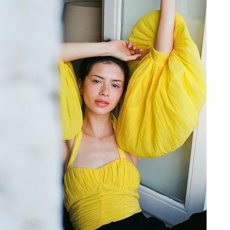 new summer holiday sexy yellow chiffon camis lantern sleeve backless hot