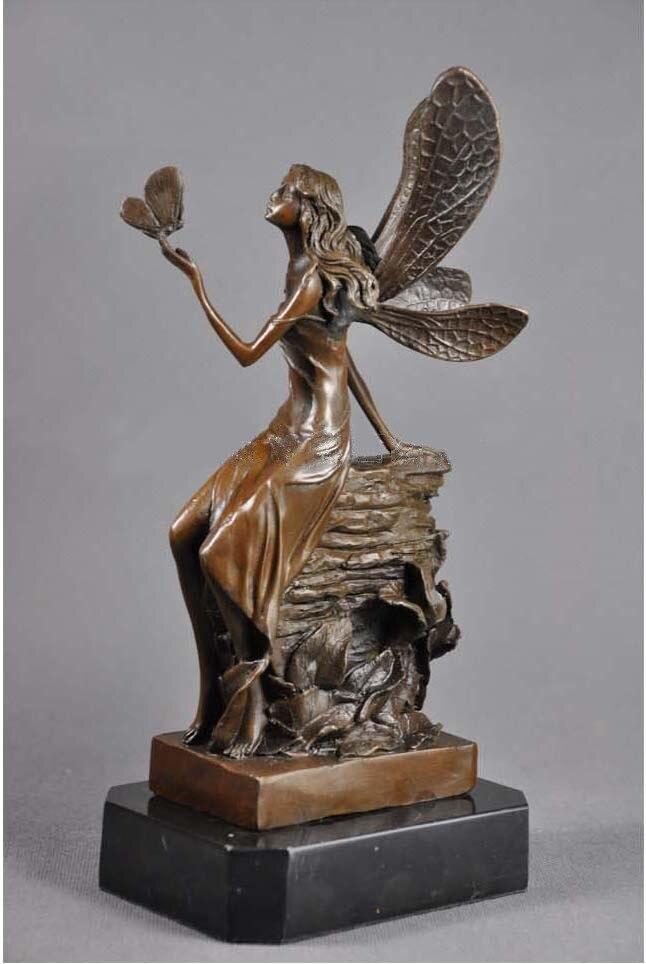 Artesanías cobre Navidad regalos de lujo decoración de artesanías para niños habitación bronce flor Hada estatua figurillas CZS 147 - 3