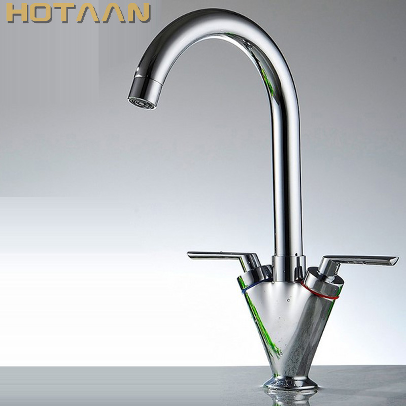 Brass Quality Guarantee double handle kitchen sink tap kitchen mixer round swivel Kitchen Faucets torneira YT