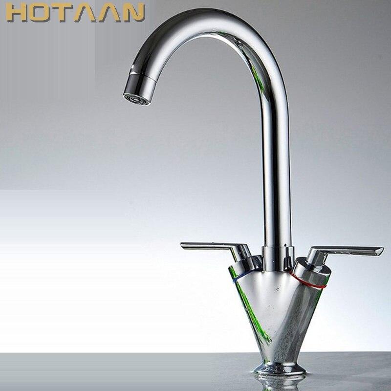 真鍮の品質保証! ダブルハンドルの台所のシンク、キッチンミキサー、ラウンドスイベルキッチン水栓、 torneira YT 6041  グループ上の 家のリフォーム からの キッチン 蛇口 の中 1