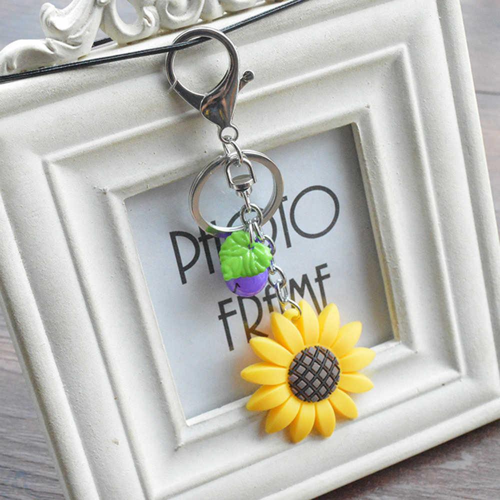 1 PC Animais resina Sun Flower Mulheres Bolsa Encantos Chaveiros Presente Da Corrente Chave chave Do Carro Chaveiro Encantos Da Jóia do estilo Aleatório