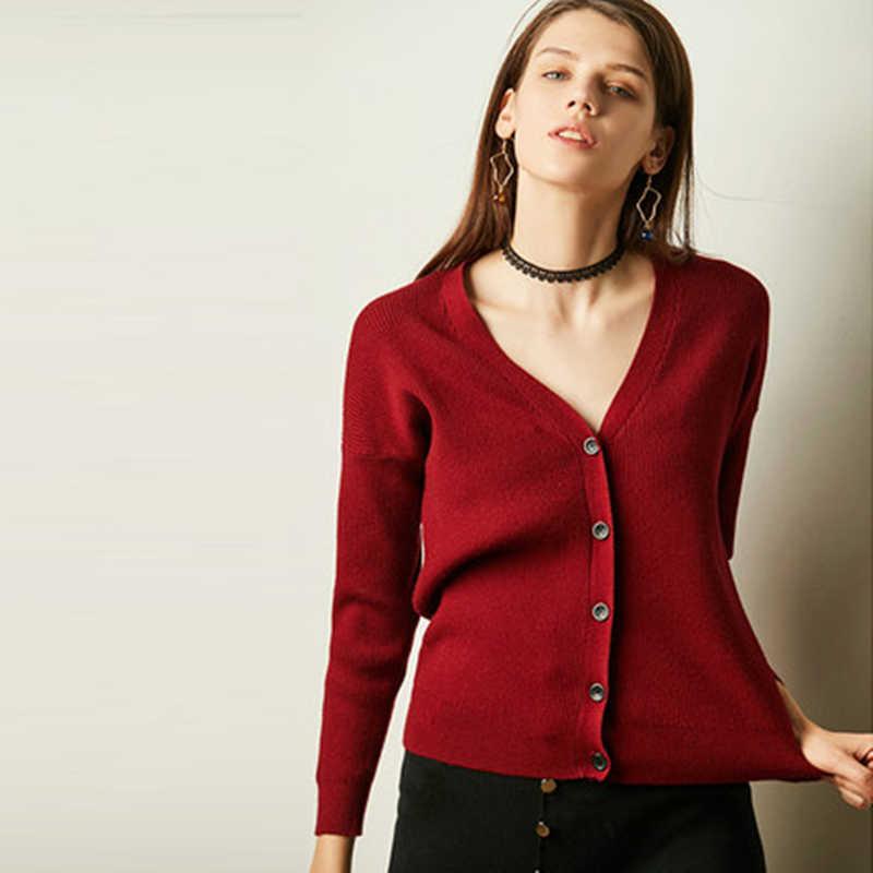 Neue frühjahr 2019 weibliche strickjacke wolle pullover mantel kurze frauen langarm gestrickte jacke weibliche feste cashmere strickjacke