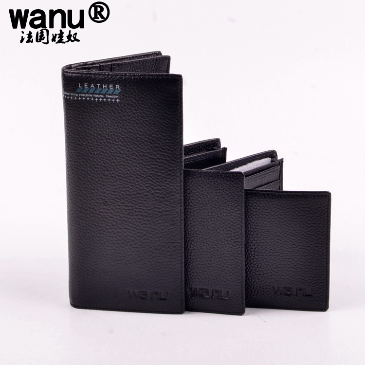 WANU 100% genuine COW leather mens wallet premium product real cowhide wallets for man short black walet homme purse handbag