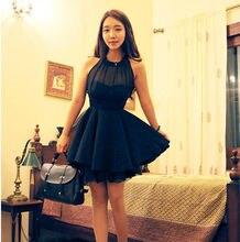 Women Sleeveless Sexy Backless Chiffon Party Ball Prom Evening Short Dress S M L