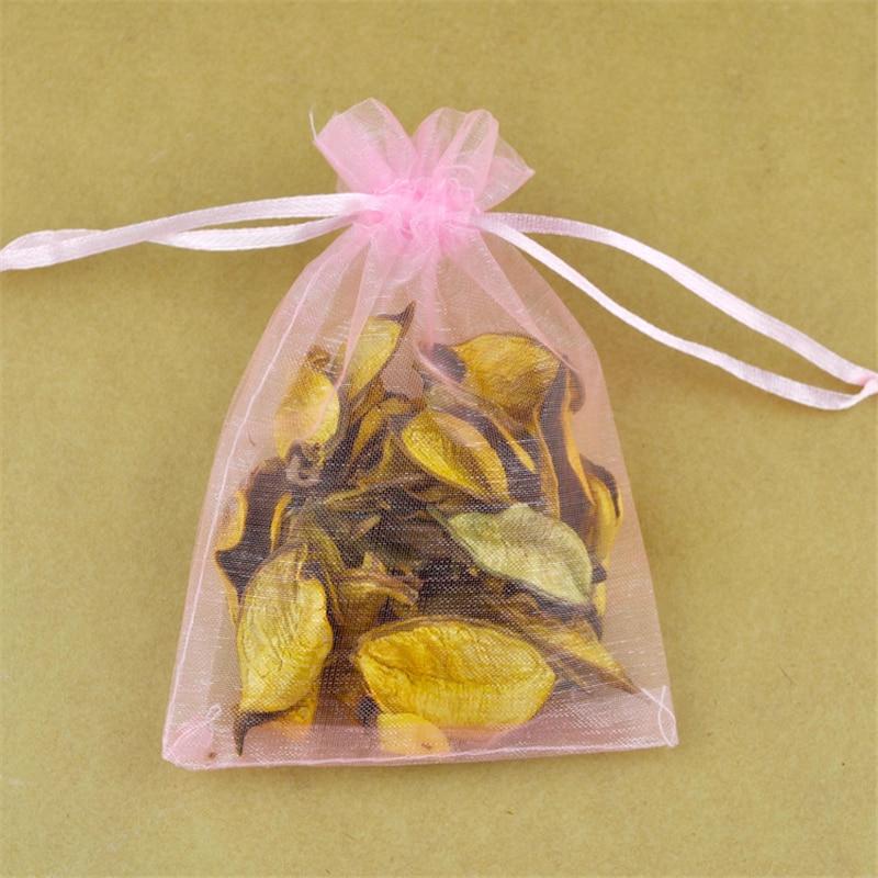Envío Gratis 100 piezas 9x12 cm color rosa dibujable bolsas de Organza de boda regalos de navidad bolsas de embalaje de bolsas