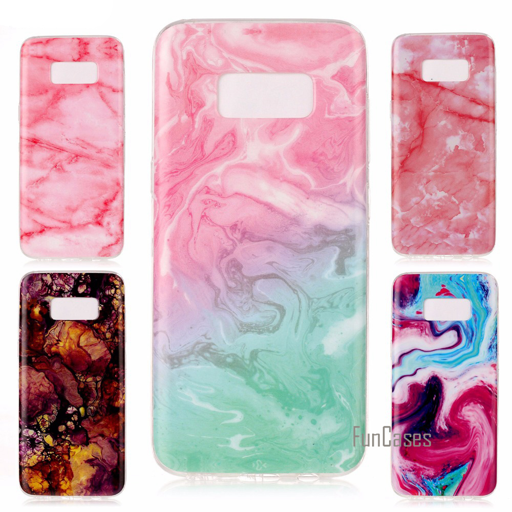 Marble Texture Painted Soft Case For Samsung S8 Plus S7 S6 edge S5 A5 A3 J7 J5 Glossy Granite Geometry Phone Cover Back