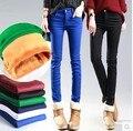 Multicor doce cor além de veludo feminino calças para baixo calças lápis magras calças compridas casuais calças femininas