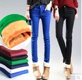 multicolour candy color plus velvet female skinny pencil pants down pants casual long pants female trousers