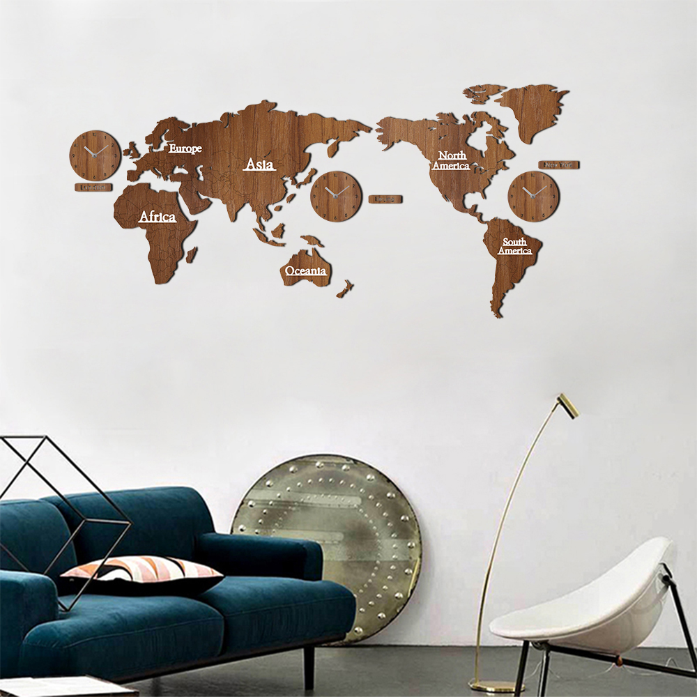 Creative world map wall clock wooden large wood watch wall clock creative world map wall clock wooden large wood watch wall clock modern european style round mute relogio de parede in wall clocks from home garden on gumiabroncs Images