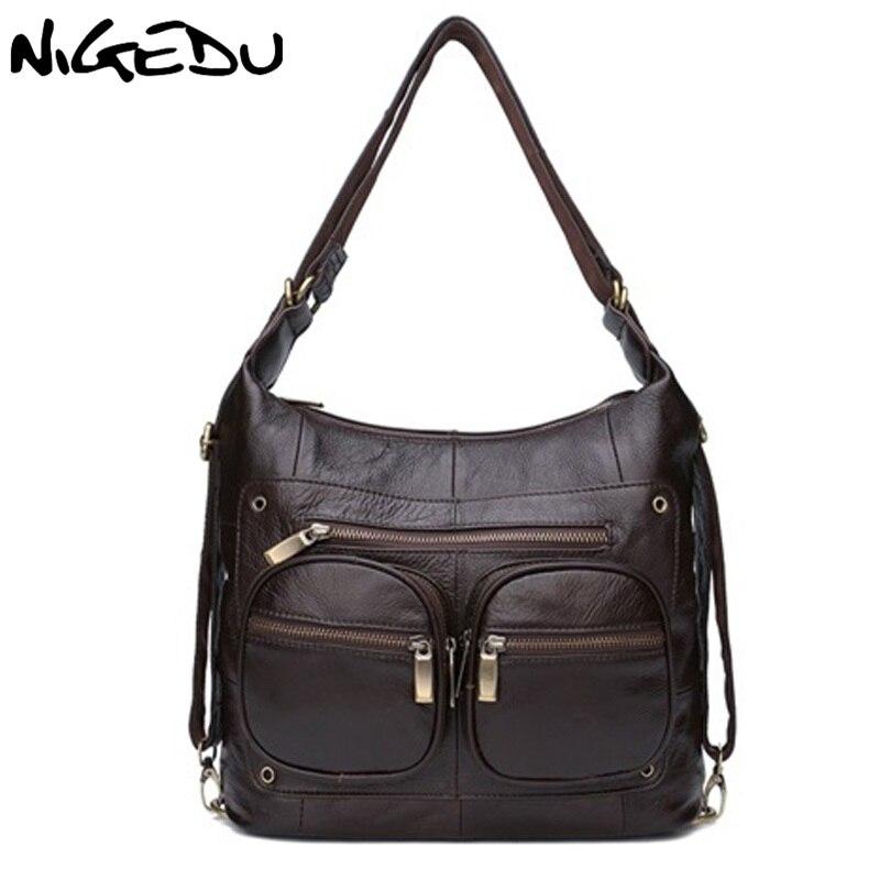NIGEDU бренд пояса из натуральной кожи для женщин сумка Роскошные дизайнерские женские коровьей сумки кофе сумки через плечо bolsa feminina Tote