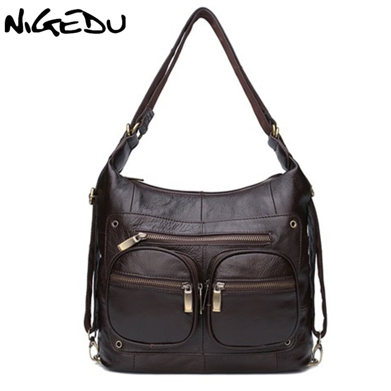 цена на NIGEDU Brand Genuine Leather Women shoulder bag luxury designer ladies cowhide handbag coffee Crossbody Bags bolsa feminina Tote