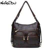 NIGEDU Brand Genuine Leather Women Shoulder Bag Luxury Designer Ladies Cowhide Handbag Coffee Crossbody Bags Bolsa