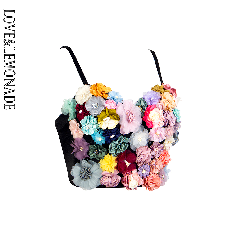 LOVE&LEMONADE Colorful Three-Dimensional Flower Embroidery Tube Top Strap LM90038