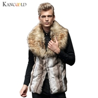 New Luxury Quality Male Mens Faux Fur Hoodies Jacket Vest Winter Fashion Sleeveless Hooded Outerwear Slim