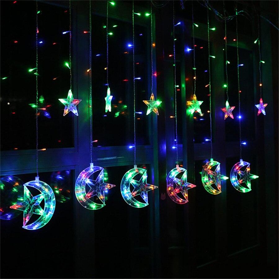 8 Modes 138 Led Moon Star String Light Plug In Fairy