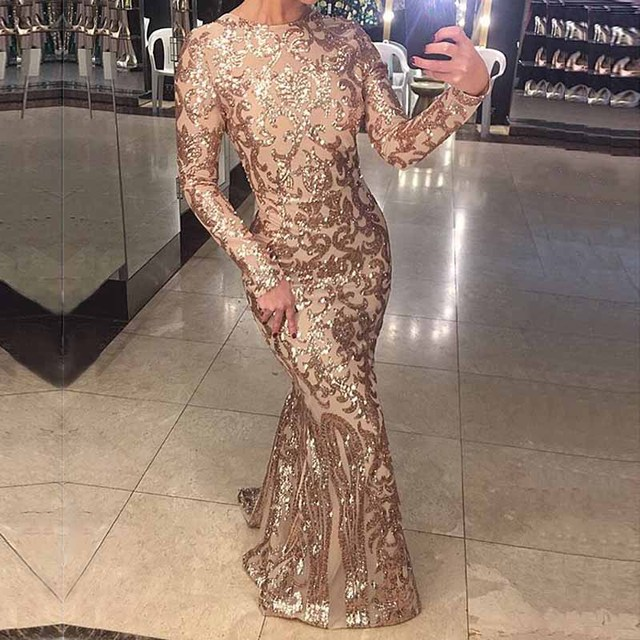 Stretchy Full Sleeved Maxi Dress Geometric Sequined Bodycon Party Dress O Neck Back Zipper Floor Length Dress
