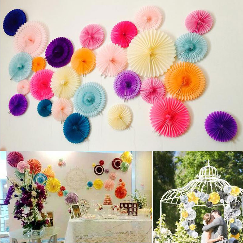 Decorative Crafts 30cm 12 Flower Origami Paper Fan Wedding Decoration Home Decorations Birthday Party Kids On