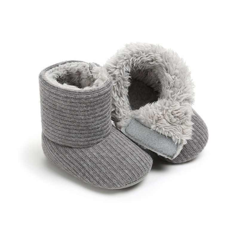 Spring Autumn Winter Newborn Baby Infant Boy Girl Knitted Shoes Solid Snow Boots Warm Fur Crib Shoes Soft Sole Prewalker