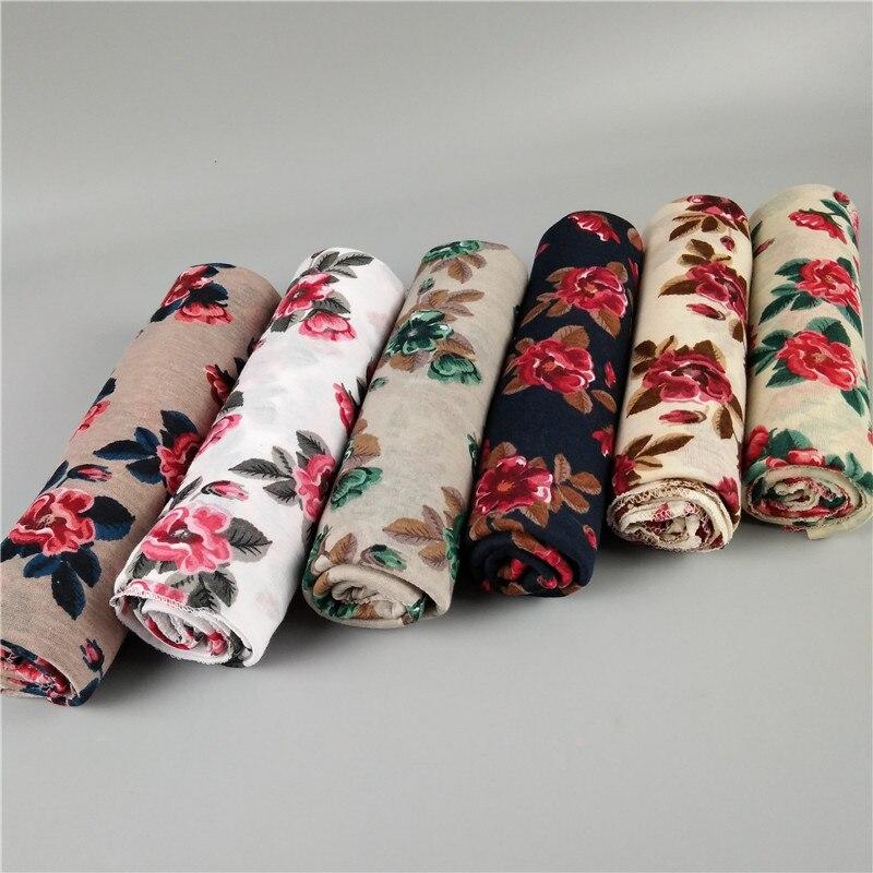 Fashionable Floral Printed Scarf Jersey Hijab For Women Long Islamic Shawl Headband Arab Turban Headscarf Wrap 180*80cm 6colors