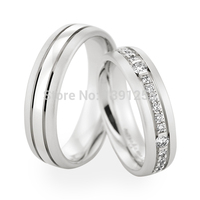 JH Jewelry One Pair 6mm18ct 18k White Gold 0.60ct Diamond Couples Ring Lovers Ring Free shipping Wedding Band Ring