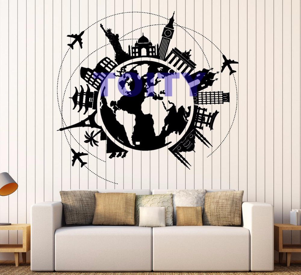Wall Vinyl Decal Atlas World Map Wall Decor World Famous Place Travel Trip Vacation Airline Map