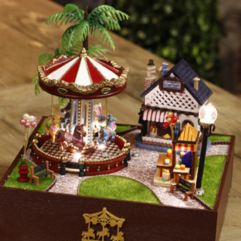 Diy carousel music box cute room amusement park music box for Amusement park decoration ideas