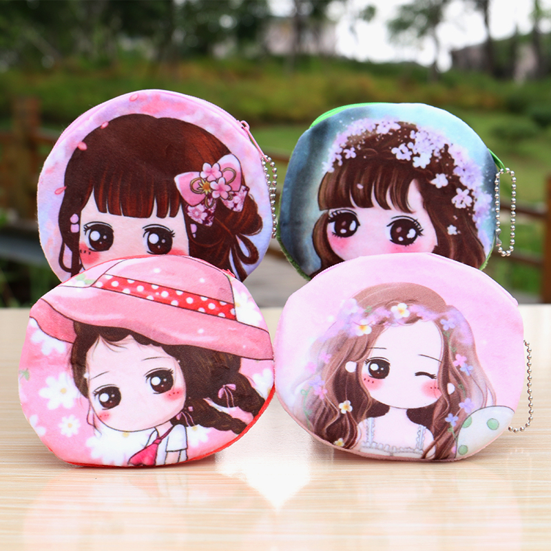 Cartoon zipper purse female lady short wallet little girl plush mini coin bag Hand pocket Cloth