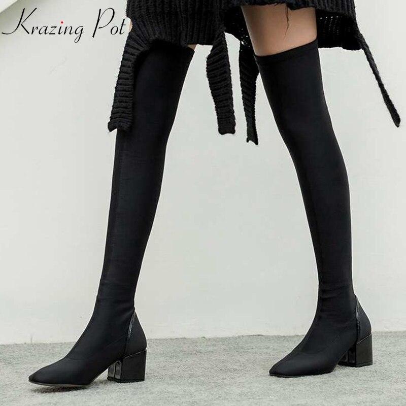 Krazing Pot stretch tissu épais talon stovepipe bottes gladiateur femmes garder au chaud bout carré dame mature bottes sur le genou L66