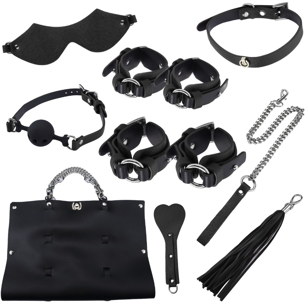 Adult Games Sex Toy Kits Handcuff Footcuff Whip Blindfold For Couples Erotic Sex Bondage Toys Sex Products With Storage BagAdult Games Sex Toy Kits Handcuff Footcuff Whip Blindfold For Couples Erotic Sex Bondage Toys Sex Products With Storage Bag