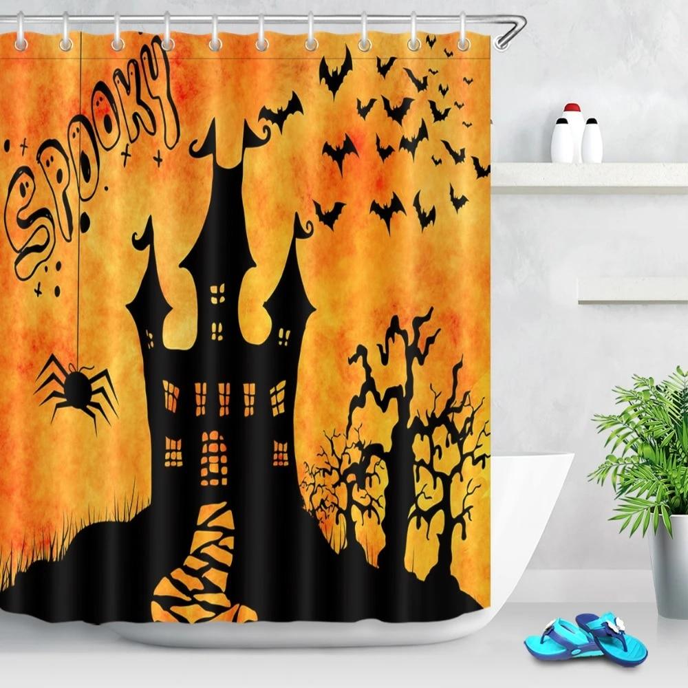 lb 72 black spider bat castle dead tree spooky shower curtains halloween polyester bathroom curtain fabric for bathtub decor