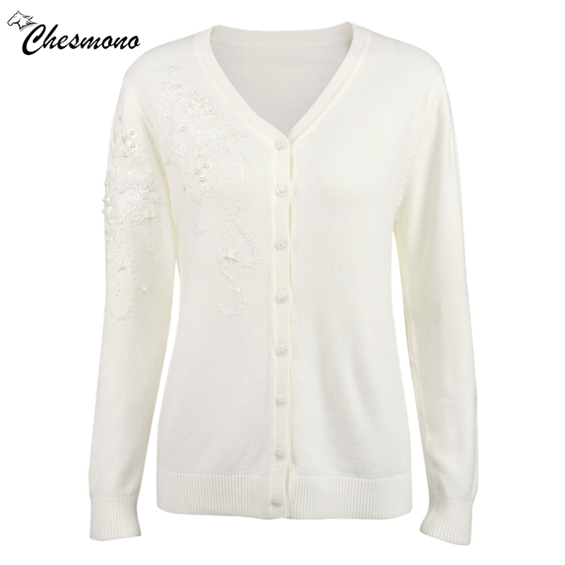 chesmono Spring & Autumn Sweat Sweaters Women Cardigans With Crystal Rhinestones Beads button v neck Elegant Female Cardigans ...