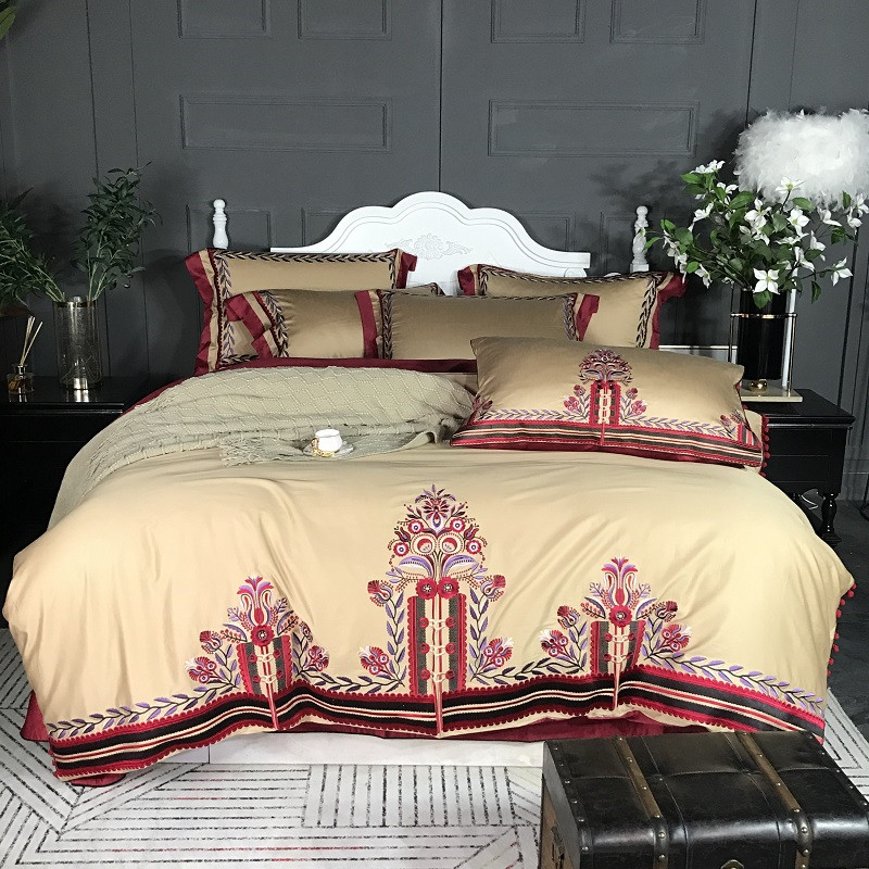 luxury Chinese style Wedding classical Embroidery 60S Egyptian cotton Comfortable Bedding Set Duvet Cover Bed sheet Pillowcases