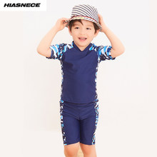 e7e911e85f Boys Swimsuit 3 pieces printed short shirt shorts with swimming cap  patchwork children 2018 kids boy swimming wear bathing suit