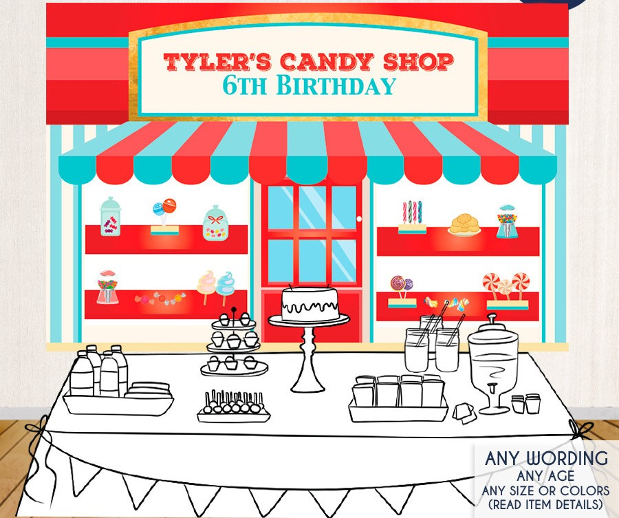 custom candy shop first birthday sweet shoppe photo studio background High quality Computer print party backdrop