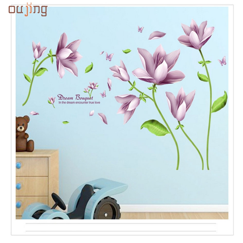 <font><b>Elegant</b></font> Bouquet Wall Paper Wall Background Bedroom Wall Stickers Happy Gift High Quality PVC Wedding Decoration <font><b>Home</b></font> <font><b>Decor</b></font>