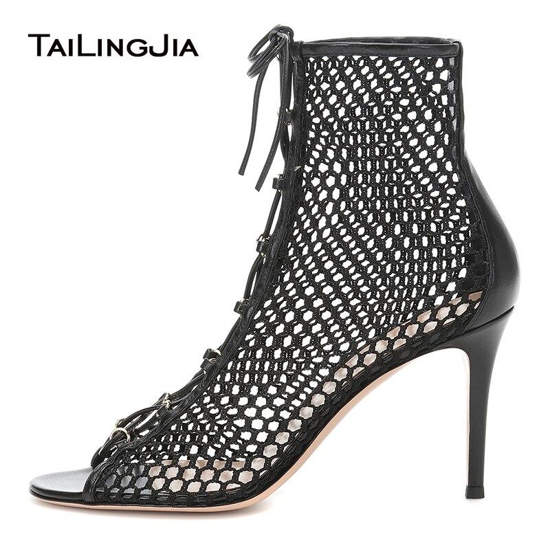 Dernières bottines en résille noire à talons hauts pour femmes à talons ouverts à lacets pour femmes grande taille 2019