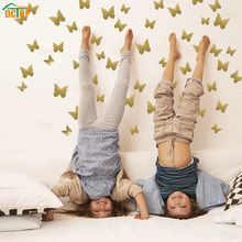 35pcs Butterfly Wall Stickers DIY Gold Decals Vinyl Mural Decoration for Bedroom Living Room Children Girls Decor